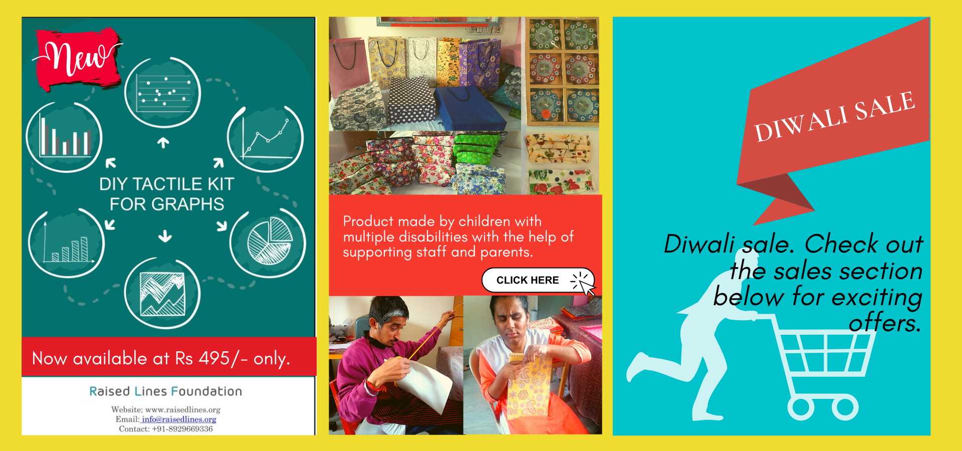 Diwali Offers- vocational products by children with multiple disabilities, Introducing new  DIY Tactile graph kit at Rs 495 only and check out our big diwali sale below.